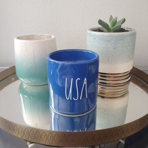 Rae Dunn USA Blue Candle